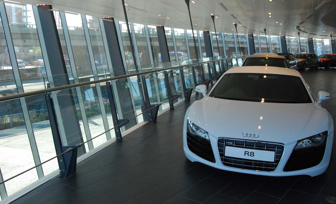 Elegant glass balustrades at Audi showroom